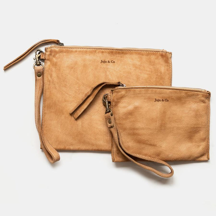 Juju & Co. - Small Flat Pouch. Available in Black, Cognac, & Natural. $99.00