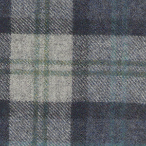 Bayside Blue Wool Plaid - Berkeley Cole Luxury Pet Bed Fabrics