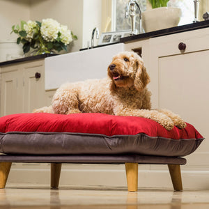Chesta - Cranberry - luxury dog bed from Berkeley Cole -  Medium dog beds in weave fabric. Machine washable dog beds.