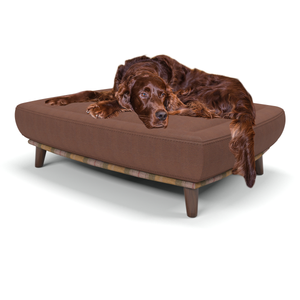 Branoch large luxury dog beds in Rhubarb Crumble - Antique leg - Berkeley Cole.