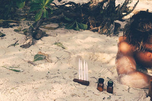 Barefoot luxury. Perfume created on a beach.