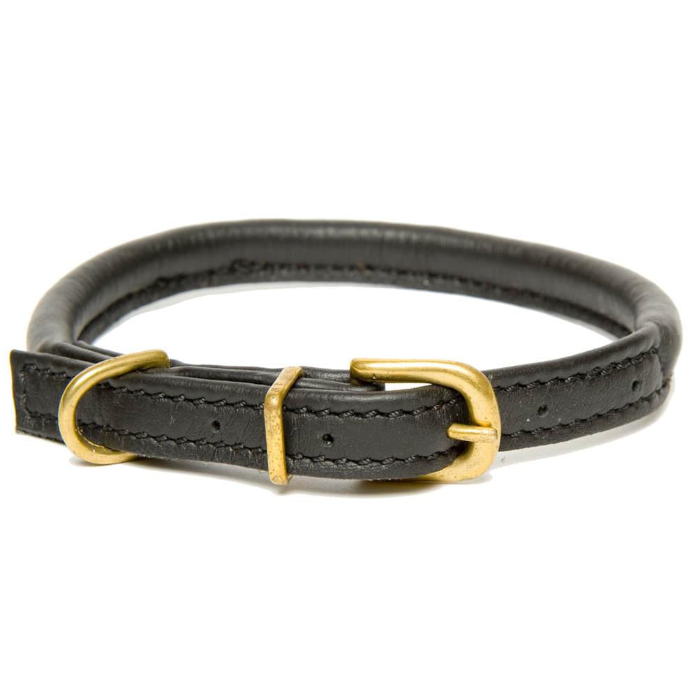 D&H Classic Rolled Leather Dog Collar