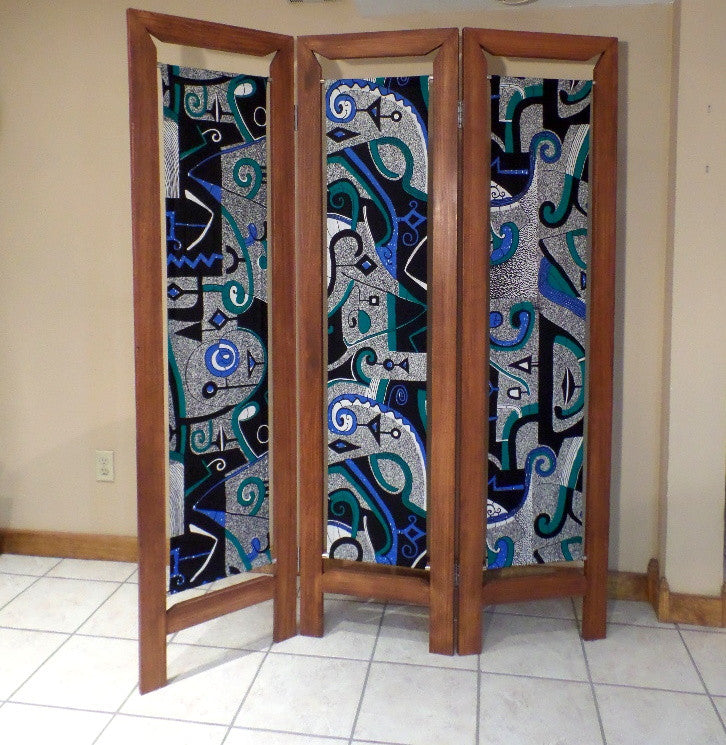 Handmade room divider folding screen african fabric and wood