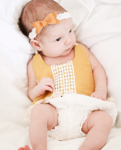 Mustard Petite Leather Bow