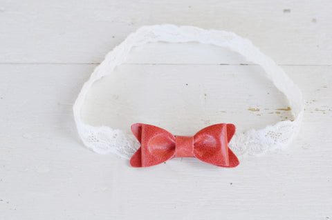 Petite Vintage Red Leather Bow