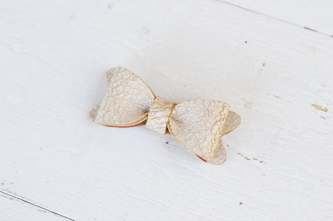 Petite Cream Crackle Leather Bow