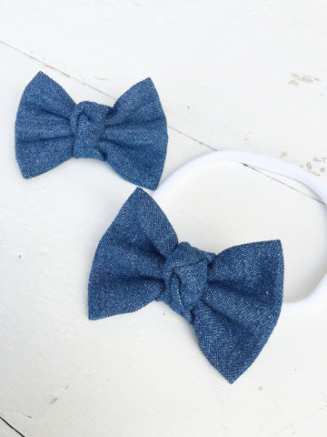 Denim Knot Mini Bow