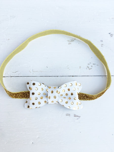 Luxe Gold Dot Signature Leather Bow