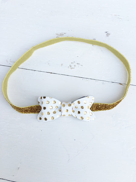 Luxe Gold Dot Petite Leather Bow