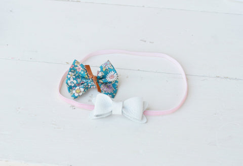Creamy White Petite Leather Bow