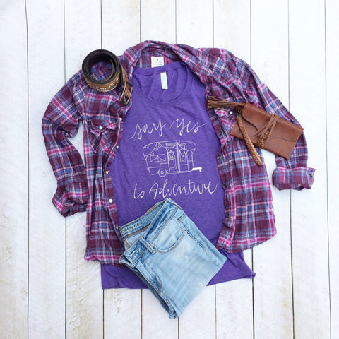Ladies Camper Tee in Plum