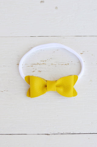 Lemon Petite Leather Bow