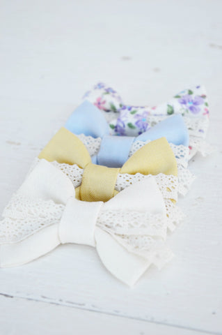 Natural Lenny Lace Bow