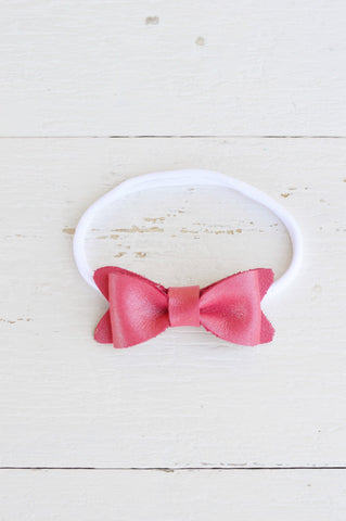 Pearl Pink Petite Leather Bow