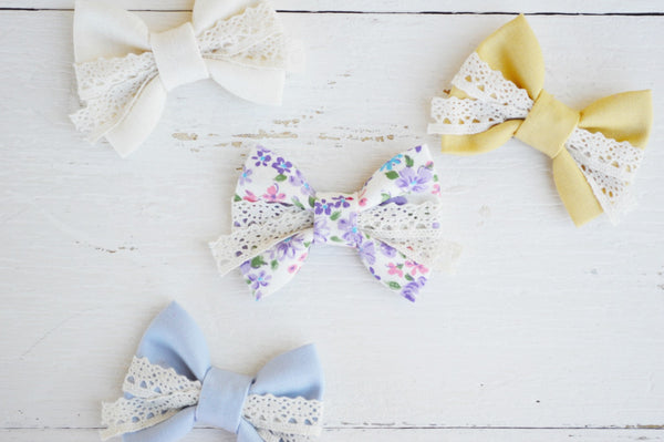 Purple Floral Lenny Lace Bow