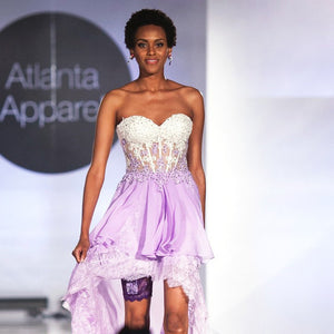 GirlyGoGarter by Andy Paige - purple garter on Black American runway model evening gown iPhone holder