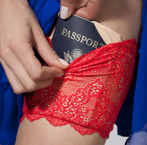 Red GirlyGoGarter by Andy Paige - lingerie lace garter with pockets - travel wallet, passport wallet