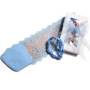 Blue Wedding Garter Bridal Garter Gift Set with free satin garter for wedding garter toss GlitzyGoGarter by Andy Paige