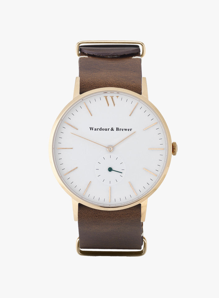 Silverstone Rose Gold – Brown Leather Nato