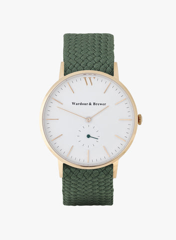 Silverstone Rose Gold – British Racing Green Perlon