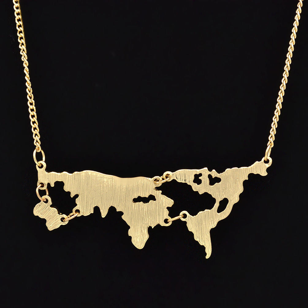Gold Map Necklace