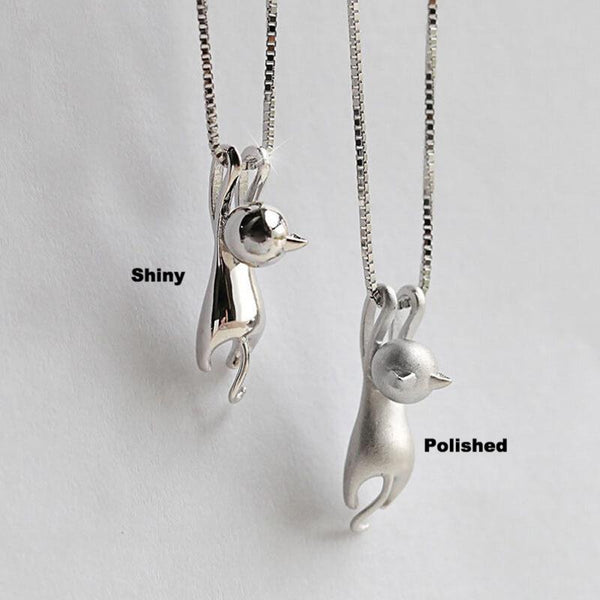 Silver Plated Cat Necklace (Free + Shipping)