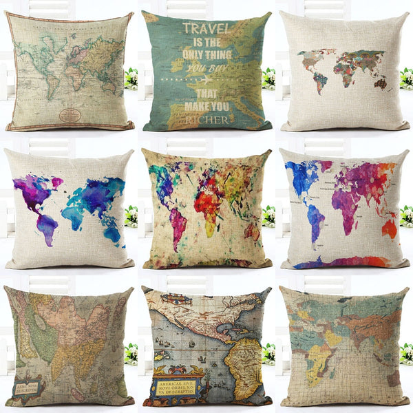 Map Home Decor Pillow Cases