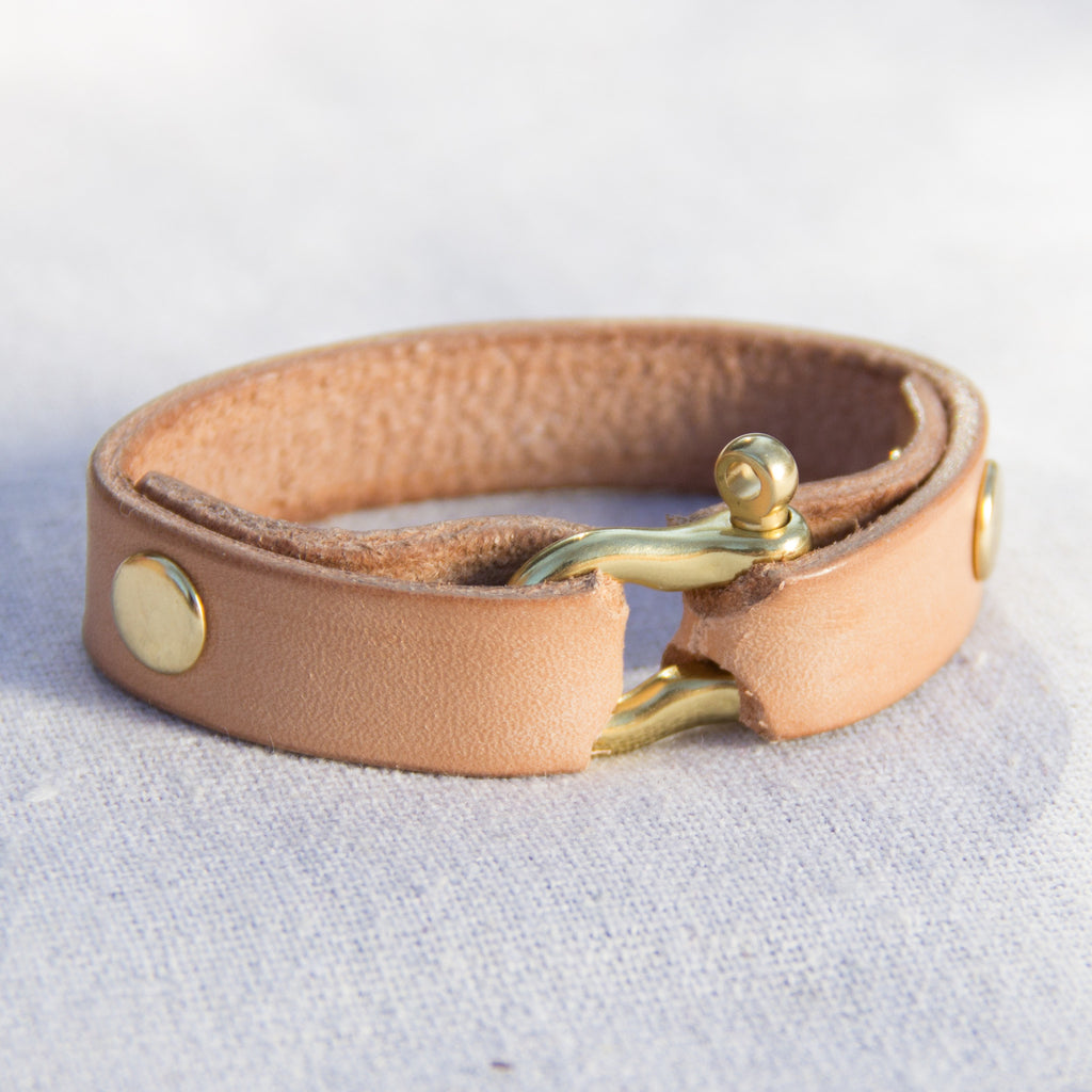 Leather Cuff (Natural) - Mainland Revival LLC.