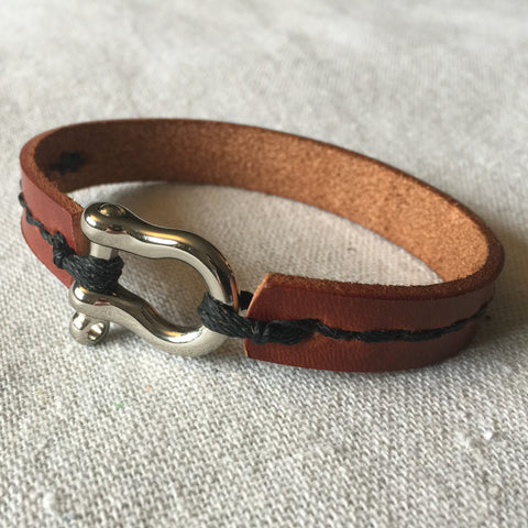 Leather Cuff with Stitch Detail - Mainland Revival LLC.