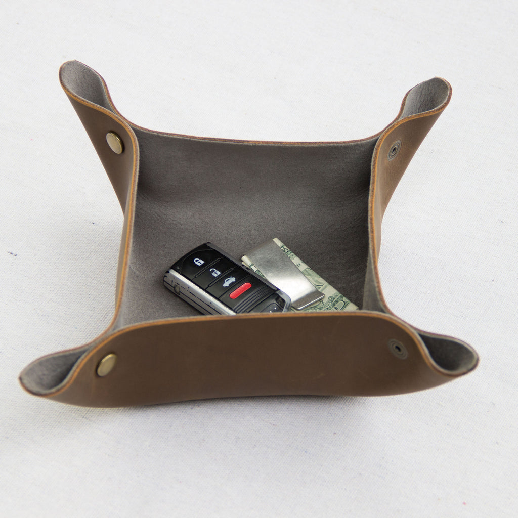 Leather Catchall (Gray) - Mainland Revival LLC.
