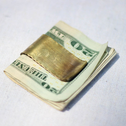 Money Clip (Pleated Brass) - Mainland Revival LLC.