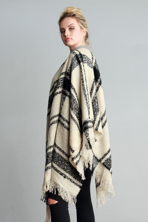 Black & Cream Oversized Blanket Scarf - Suede Boutique  - 1