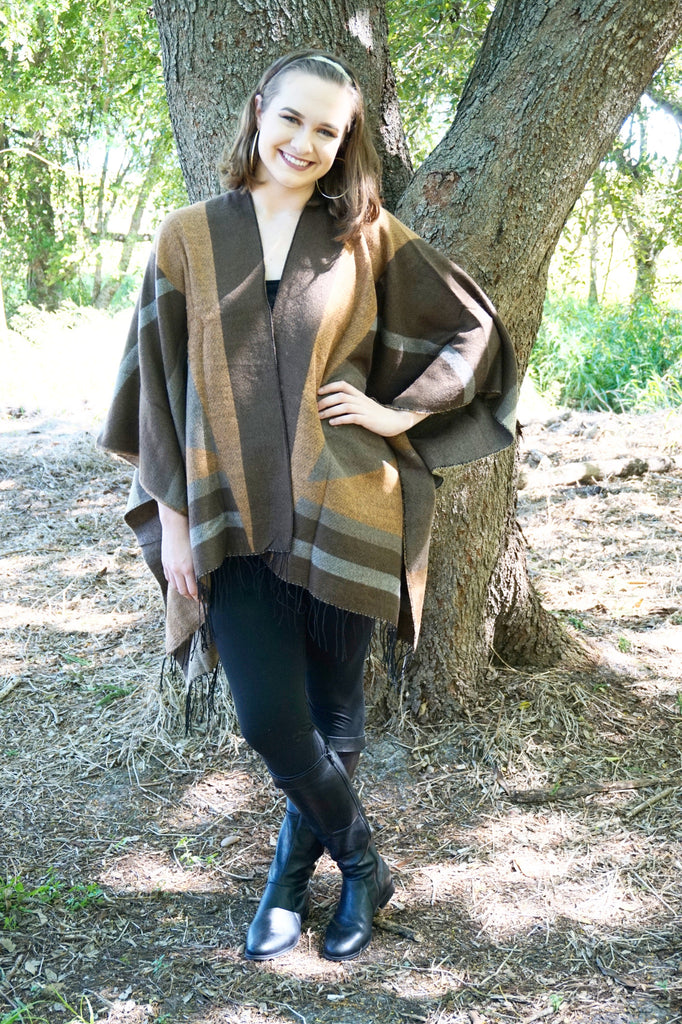 Brown Patchwork Ruana Cardigan - Suede Boutique  - 1