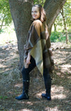Brown Patchwork Ruana Cardigan - Suede Boutique  - 2