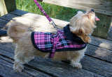 Doggie Hot Pink Plaid Fur Collar Harness Coat - Suede Boutique  - 1