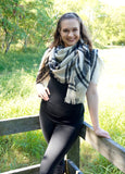 Black & Cream Oversized Blanket Scarf - Suede Boutique  - 3