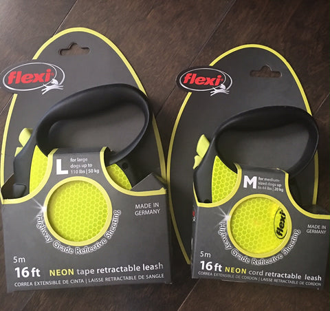 Flexi Retractable Neon Yellow Leash - 16' Cord