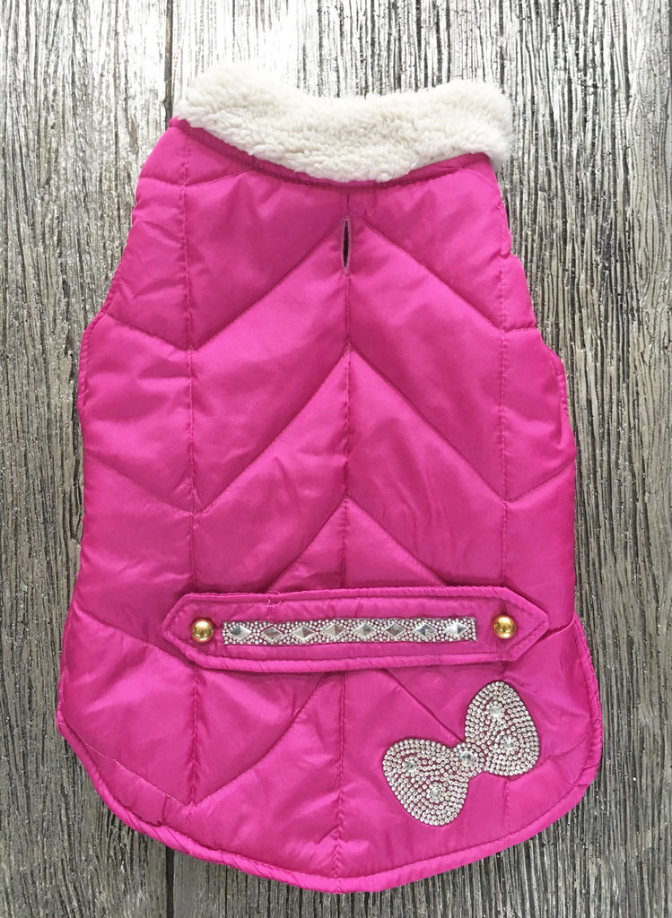Doggie Hot Pink Jeweled Puffer Jacket - Suede Boutique  - 1