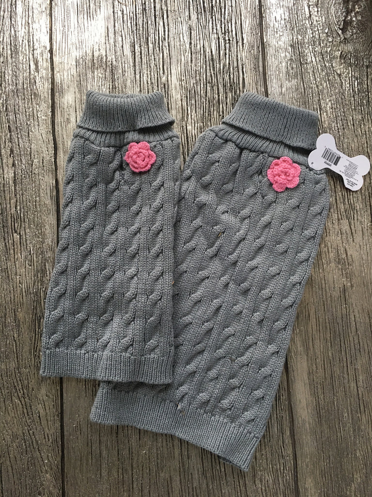 Doggie Gray and Rose Cardigan Sweater - Suede Boutique  - 1