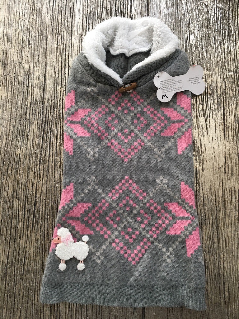 Doggie Poodle Patch Toggle Pullover Sweater - Suede Boutique  - 1