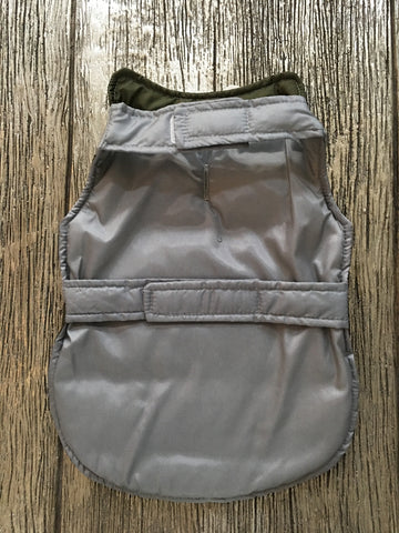 Doggie Green & Gray Stripped Puffer Jacket