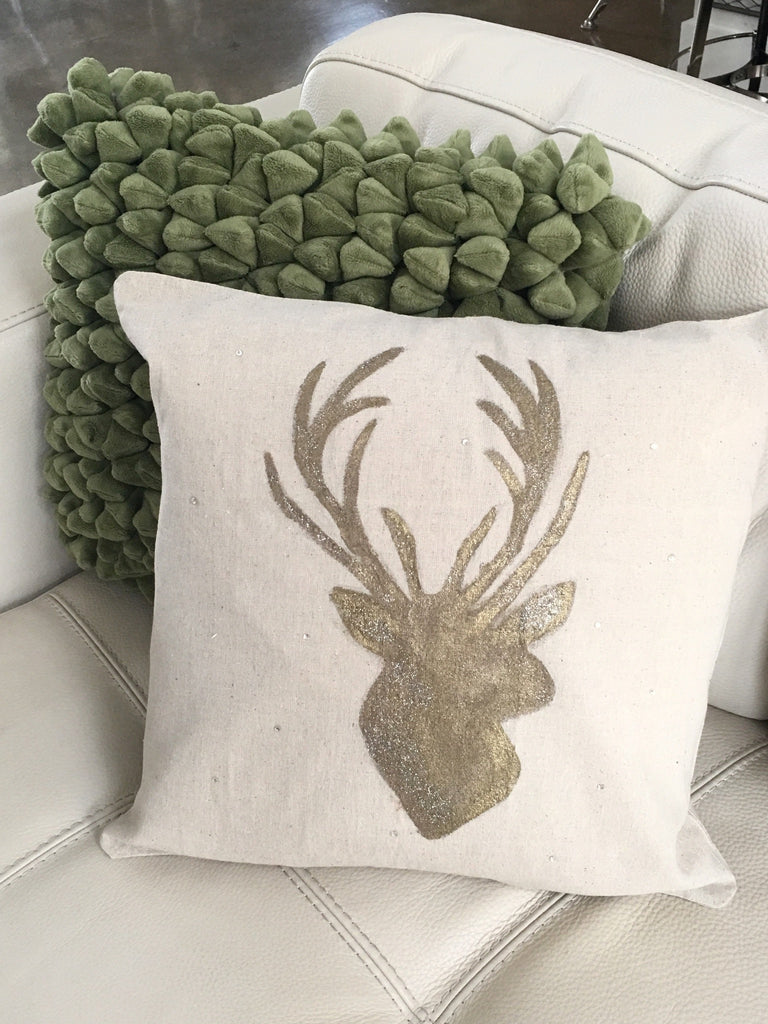 Deer Head Holiday Pillow - Suede Boutique