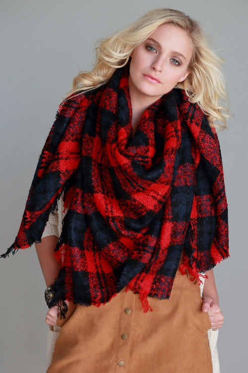 Plaid Oversized Red Blanket Scarf - Suede Boutique  - 1