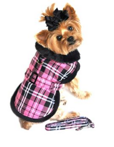 Doggie Hot Pink Plaid Fur Collar Harness Coat
