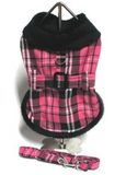 Doggie Hot Pink Plaid Fur Collar Harness Coat - Suede Boutique  - 3