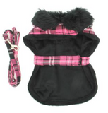 Doggie Hot Pink Plaid Fur Collar Harness Coat - Suede Boutique  - 4