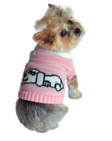 Doggie Dreaming Pink Sweater