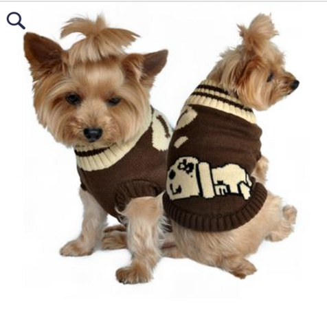 Doggie Dreaming Brown Sweater