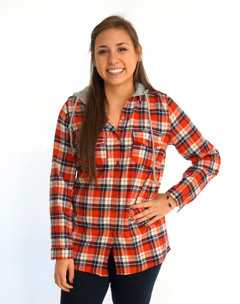 Plaid Flannel Shirt with Removable Hoodie - Suede Boutique  - 1