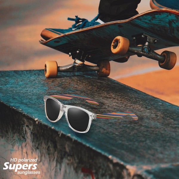 Supers Skateboard wood sunglasses with polar lens